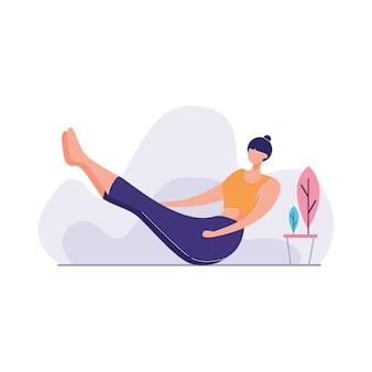 Femme, debout, yoga, pose
