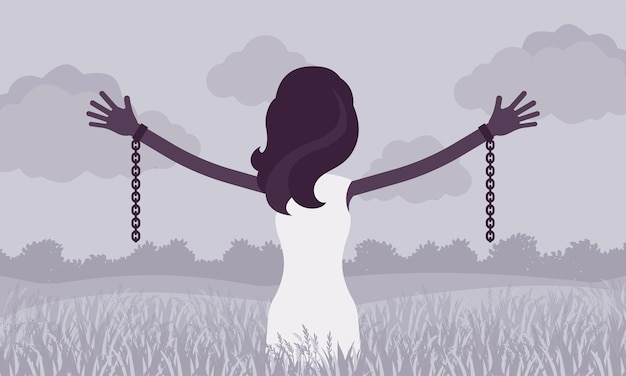 Femme déchaînée avec bras tendus, vue arrière