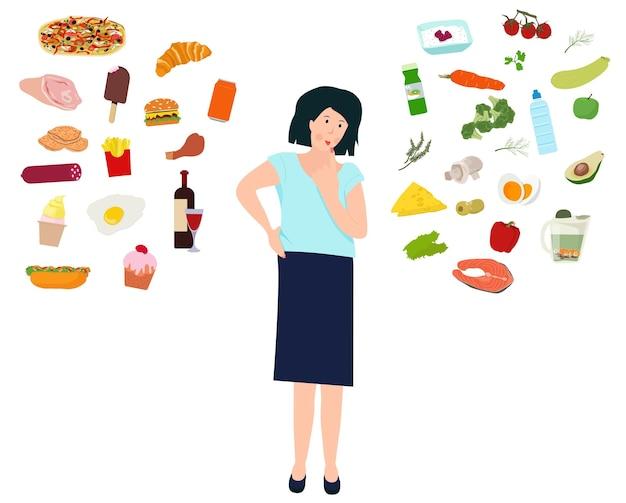 Une femme décide elle-même quoi manger. le choix entre une alimentation malsaine et saine. vecteur