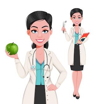 Femme dentiste, ensemble de deux poses
