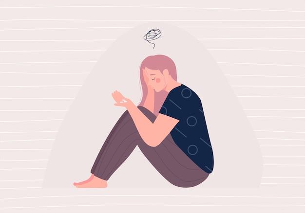 Femme dépression avec perplexe dans son esprit et pilule sédative dans sa main illustration antidépresseur. médicament traitant un personnage de dessin animé plat concept maladie ou trouble