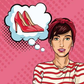 Femme avec dessin animé de pop art bulle