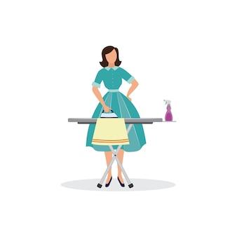 Femme de dessin animé, repassage de vêtements dame vintage en robe à faire le ménage