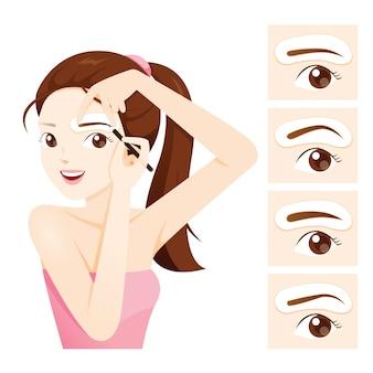 Femme dessinant son front par des pochoirs à sourcils
