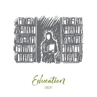 Femme dessinée à la main dans la bibliothèque avec croquis de concept de livres.