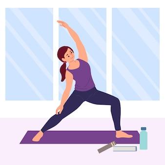 Femme dessinée à la main, faire du yoga