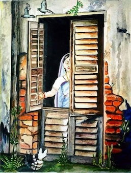 Femme dessinée à la main regardant à travers l'illustration de la fenêtre