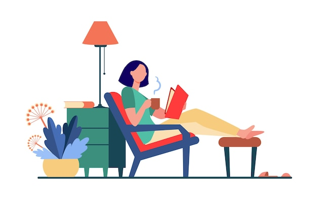 Femme de détente à la maison. fille buvant du thé chaud, livre de lecture en illustration vectorielle plane de fauteuil. loisirs, soirée, littérature
