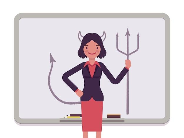 Femme avec diable dessiné