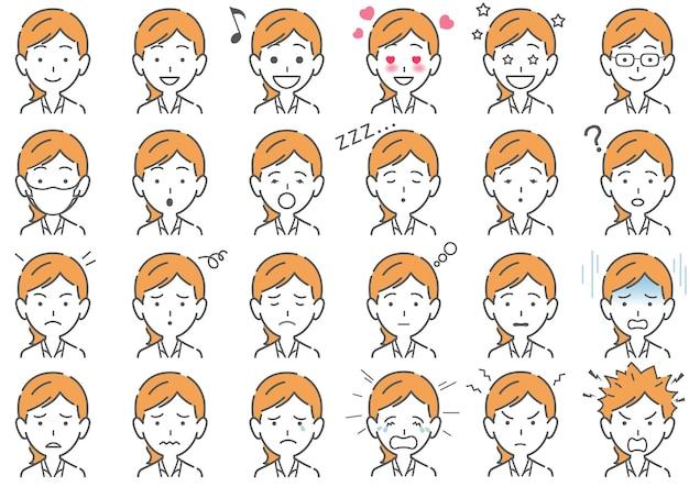 Femme, diverses, expressions faciales, ensemble, isolé