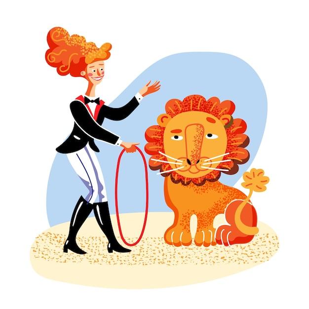 Femme dompteur de lion en tenue de carnaval tenant un personnage de dessin animé de fouet avec une performance de cirque de lion