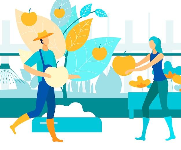 Une femme donne à un homme un homme apple et une femme récolte une récolte