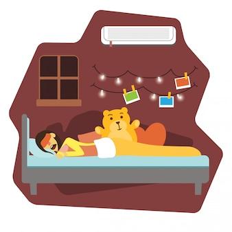 Femme, dormir, dans lit, illustration