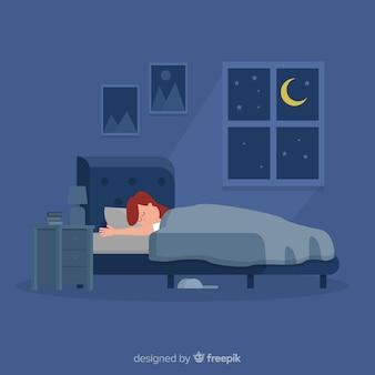 Femme, dormir, lit