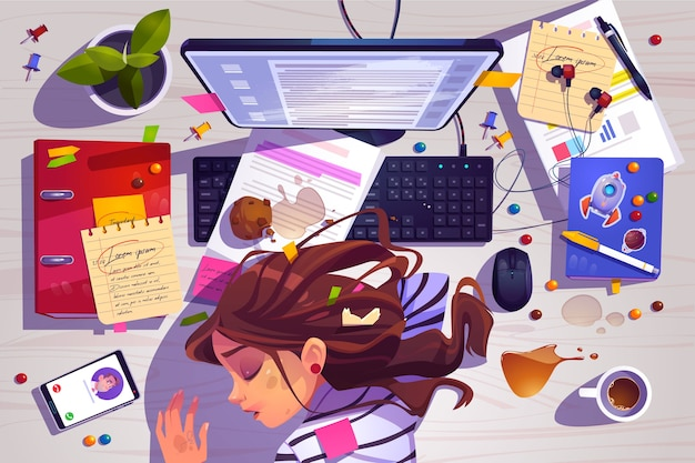 Femme dormir sur la vue de dessus du lieu de travail, fille fatiguée allongée sur un bureau en désordre avec des ordures