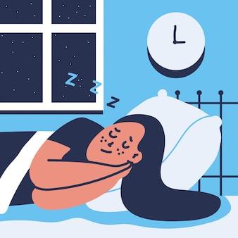 Femme dort sur le lit
