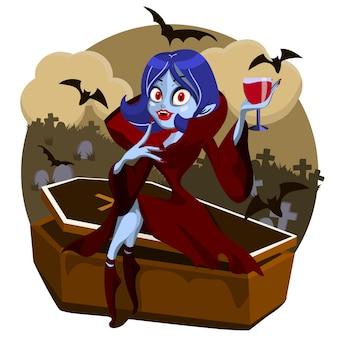 Femme dracula asseyez-vous en cercueil