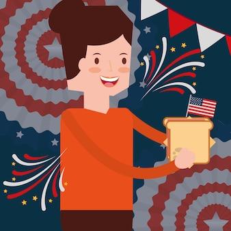 Femme avec drapeau sandwich fête de l'indépendance américaine