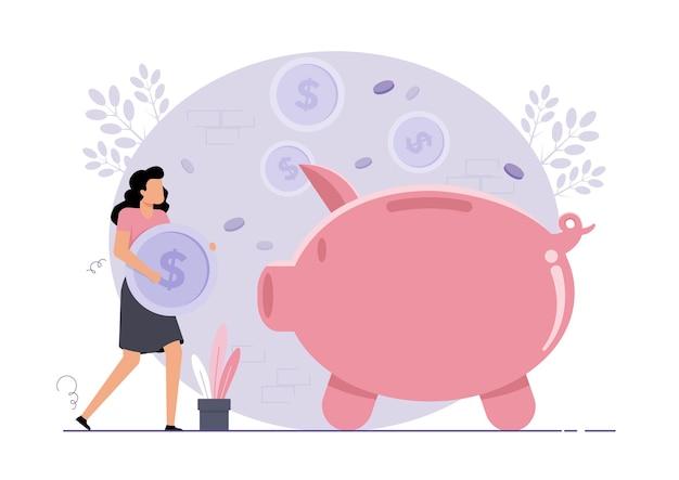 Femme avec des économies d'argent