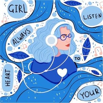 Femme écoutant de la musique dans son casque monochrome
