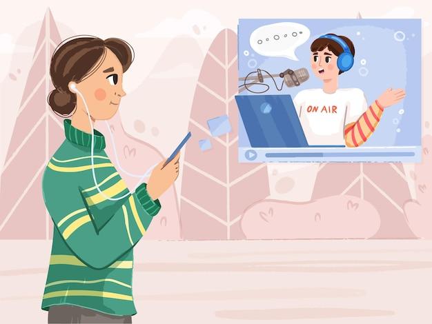 Une femme écoute un podcast en marchant sur une bannière dessinée à la main vectorielle