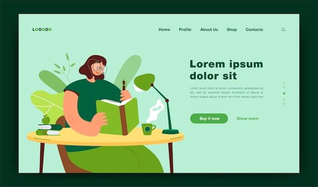 Femme écrivant Dans Un Modèle De Page De Destination Pour Ordinateur Portable Vecteur Premium