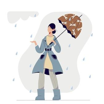 Femme élégante de dessin animé mignon marchant sous la pluie sous le parapluie.