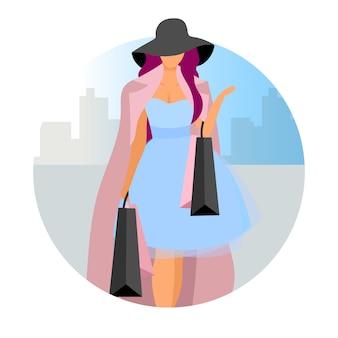 Femme élégante, faisant des achats icône plate concept. dame à la mode, accro du shopping avec autocollant de sacs à provisions, clipart. fashionista femelle, client, shopper au centre commercial. illustration de dessin animé isolé