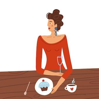 Femme élégante en robe rouge assis à table au café date de concept de la saint-valentin heureuse au restaurant ...