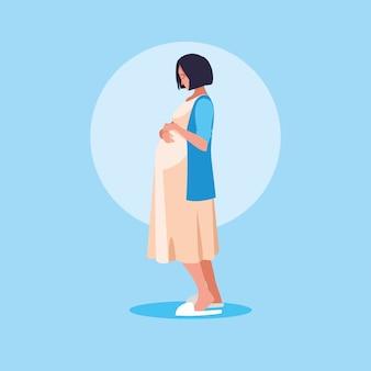 Femme enceinte avatar personnage icône vecteur ilustrate