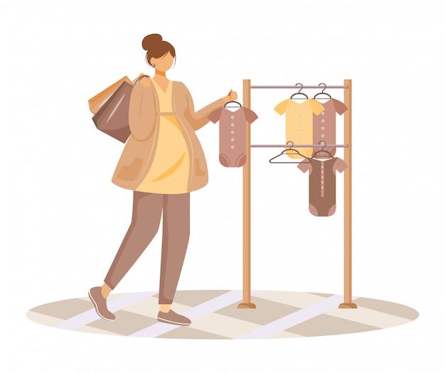 Femme enceinte, choisir l'illustration plate de vêtements de bébé. préparation à la maternité. jeune fille caucasienne sur personnage de dessin animé shopping prénatal sur fond blanc