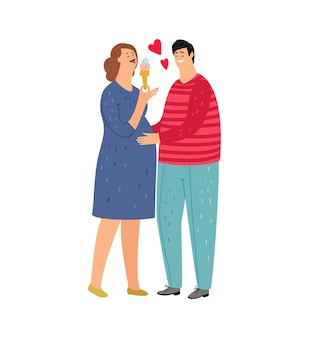 Femme enceinte. couple amoureux, femme mange de la glace. homme, tenir femme, isolé, plat, jeune, famille, caractères