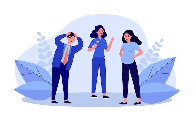 Femme enceinte, debout, près, nerveux, mari, et, infirmière, plat, illustration