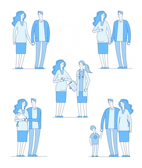 Femme enceinte. heureux jeune couple mère tenant un bébé en bonne santé. famille grossesse parents épouse mari médecin enfants ligne ensemble