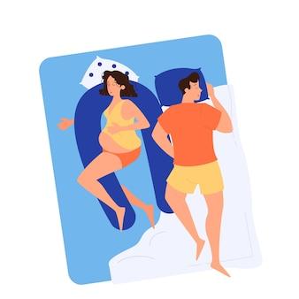 Femme enceinte et homme endormi dans le lit. heureux couple attend bébé. temps de grossesse. illustration