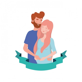 Femme enceinte avec mari avec ruban décoratif