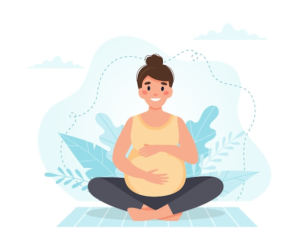 La femme enceinte médite.