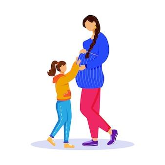 Femme enceinte et petite fille illustration vectorielle plane. préparation à la maternité. héhé, attendant bébé. dame montre le ventre à la fille des personnages de dessins animés isolés