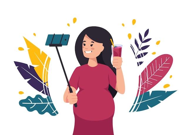 Femme enceinte prend un selfie avec une illustration de cocktail