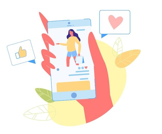 Femme enceinte avec des sacs à provisions sur un écran mobile