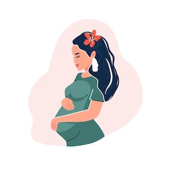 Femme enceinte vecteur moderne illustration conceptuelle dessin animé plat design isolé