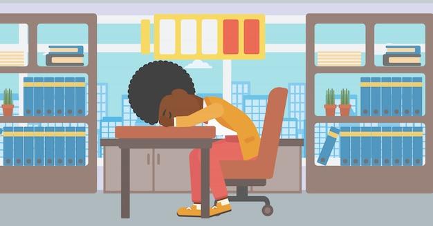 Femme endormie à l'illustration vectorielle au travail.