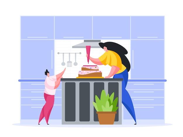 Femme avec enfant faire un gâteau d'anniversaire en illustration de dessin animé de cuisine