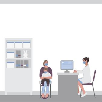 Une femme avec un enfant lors d'un rendez-vous chez le médecin dans un cabinet médical