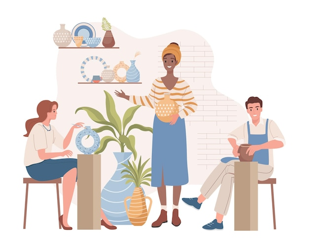 Femme enseignant aux gens sur des leçons de poterie illustration plate