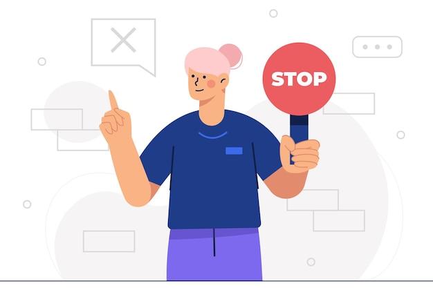 Femme enseignante tenant un panneau d'arrêt et pointant vers le mauvais signe, arrêtez de parler pendant la classe