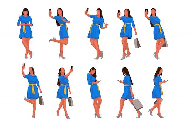 Femme, ensemble, robe, téléphone