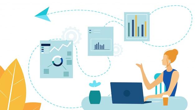 Femme entrepreneur, analyste vector illustration