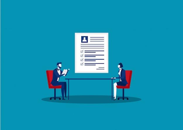 Femme en entretien d'embauche, candidate à un emploi. responsable du recrutement.