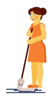 Femme essuyant le sol